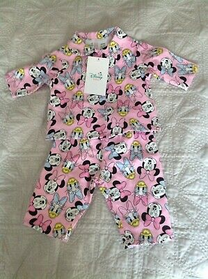 Adorable Size 000 Minnie Mouse And Daisy Duck Flannelette Pyjamas - Brand New