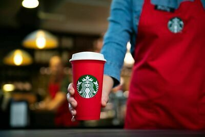 BARGAIN!!  Starbucks Christmas Holiday Red Coffee Cup  ~ Reusable