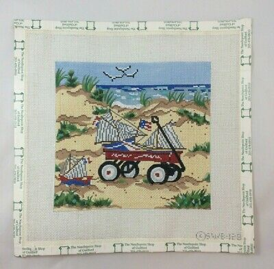 Needlepoint Canvas Patriotic Wagon Beach Children's Flag Sail Boat Hand Painted