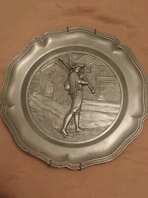 Decorative Bagpipe Wall Hanging Pewter Plate Bagpiper Vintage Collectible Decor