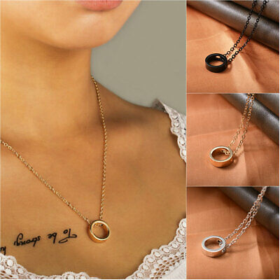 1pc Golden Silver Black Round Circle Pendant Necklace Fashion Minimalist Jewelry