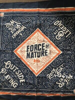 REI Blue Bandana Force Of Nature Outdoor Handkerchief Get Outside Be A Legend