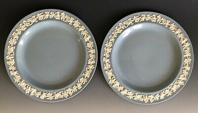 2pcs Wedgwood Of Etruria Barlaston Embossed Queensware White On Blue Salad Plate