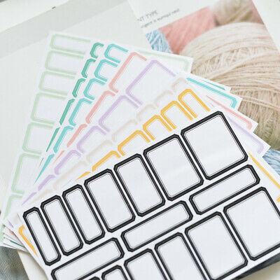 8 Sheets Blank Paper Sticker Writable Scrapbooking Crad Note Tags Labels Crafts