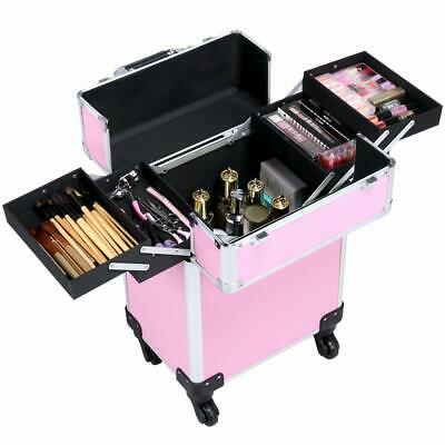"20"" Aluminum Portable Cosmetic Beauty Hairdressing Makeup Storage Case Pink"