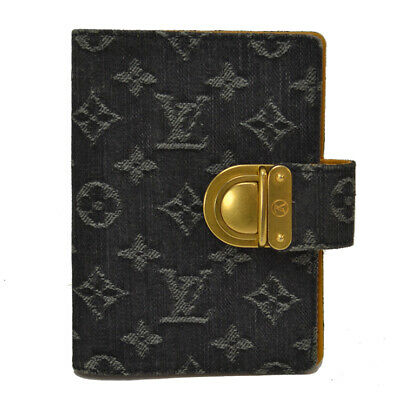 LOUIS VUITTON Monogram Denim Agenda PM R21038 Day Plannne Cover Black Denim