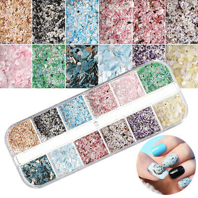 DIY Irregular Crushed Flake Sequin Shell Nail Art Manicure Charm Decor 12 Grids