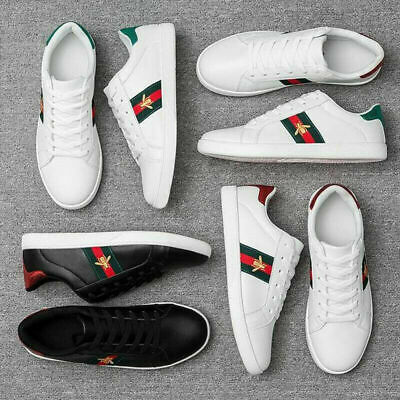 Women/Men Luxury Sneakers Casual Athletic Shoes White Embroidery Bee Design Size