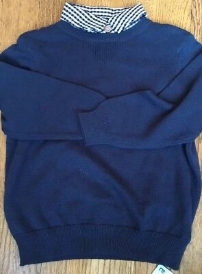 Mothercare heritage Boys Age 18-24 Mths Navy Blue Jumper With Mock Shirt Detail