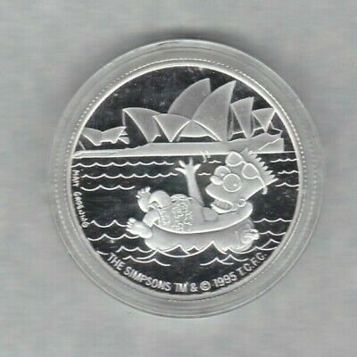 Boxed Simpsons Collectors One Ounce Silver Coin Medallion In Near Mint Condition