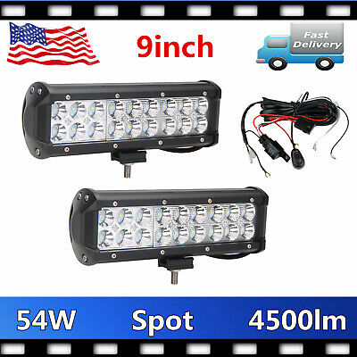 2X 9inch 54W LED Work Light Bar Spot Driving Tractor Offroad Vehicle+Wiring Kit