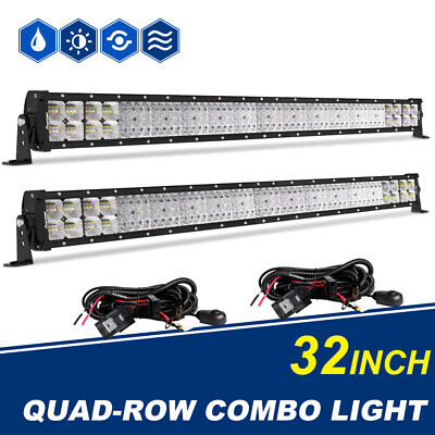 2PCS 32INCH 4080W Quad rows LED Light Bar Flood Spot Combo Offroad SUV PK 52 22""