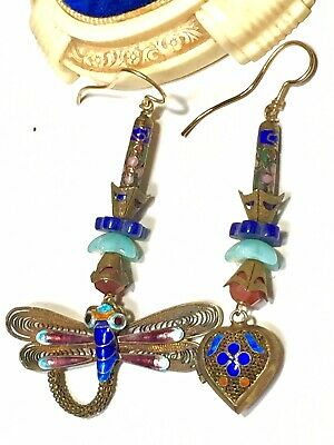 Antique/Vintage Chinese Gold-Filled Enamel Dragonfly & Heart Locket Earrings