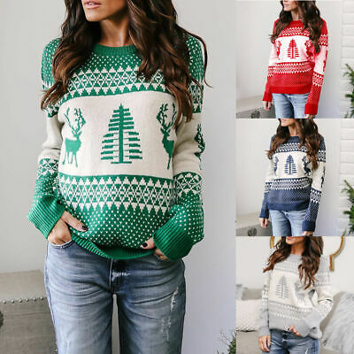 Women Ugly Christmas Xmas Sweater Pullover Jumper Top Sweatshirt Hoodies Blouse