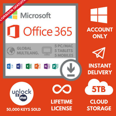 Microsoft Office 365 lifetime Pro Plus 2019 32/64 Bits For Desktop and bussiness