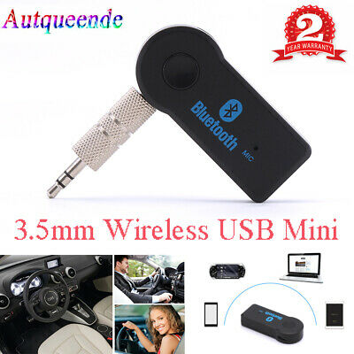 USB 3.5mm Bluetooth Wireless Aux Stereo Audio Music Car Adapter Receiver FT Mini