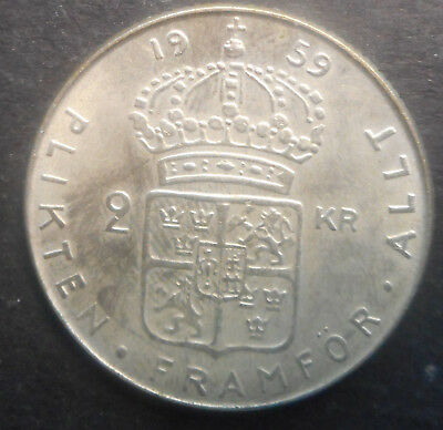 Sweden  1959 2 Kronor  Silver Coin aUNC Frosty  tone