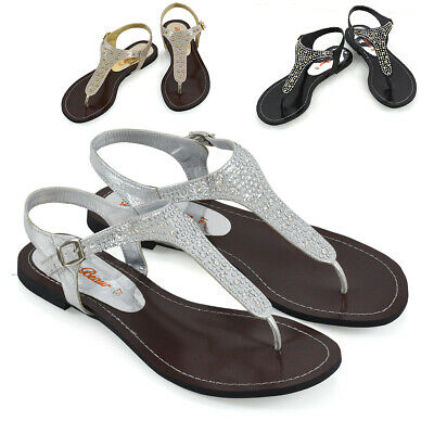 Womens Flat Strappy Thong Sparkly Diamante Sandals Buckle Ladies Shoes Size 3-8