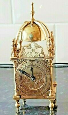 French Movement Brass Miniature Lantern Mantel Clock Platform Escapement