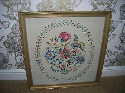 Vintage Large Hand Embroidered in silks Picture Jacobean Flowers