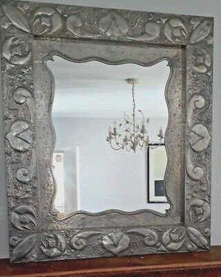 Arts & Crafts Style, Hand Beaten Pewter Mirror - Collectable Unique Item
