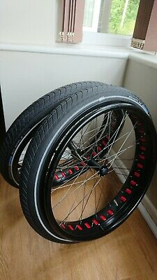 """24"""" FAT WHEELCHAIR WHEELS (pair) with SCHWALBE BIG APPLE TYRES FOR 1/2"""" AXLES"""