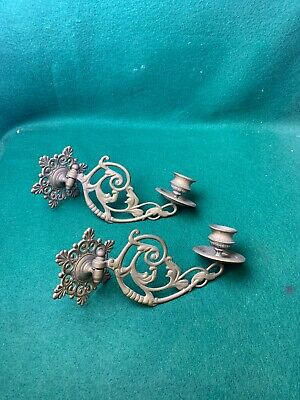 Pair Vintage Decorative Brass Candlestick Wall Candle Holder Wall Sconce Piano