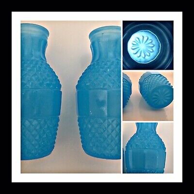 Vintage Glass Small Posy Vases Pair Opaline Blue Style Fenton & pontieux