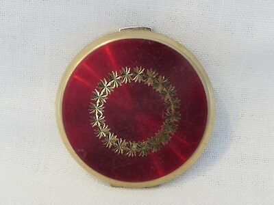 Vintage Stratton Red Enamel Round Makeup Compact - Made in England