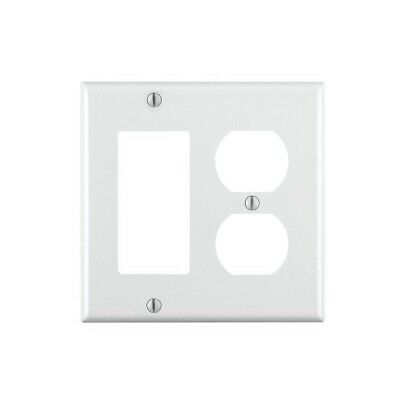 Leviton 2-Gang Smooth Plastic Single Rocker/Duplex Outlet Wall Plate, White