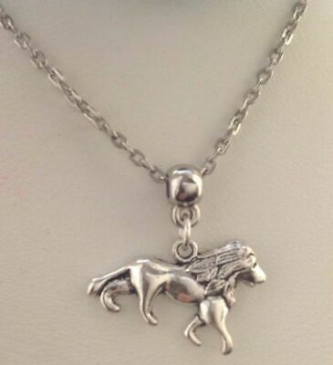 """Game of Thrones House Lannister Lion Pendant Silver Tone Chain Necklace 18"""""""