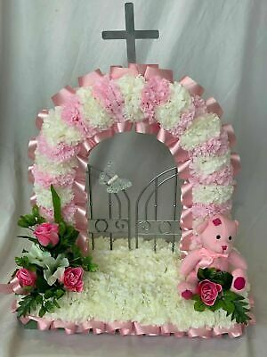 Gates Of Heaven Artificial Silk Funeral Flower Tribute Bear Stripe Baby Memorial