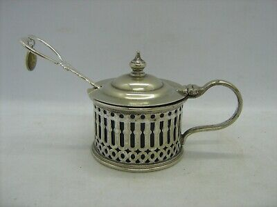 Charming antique CFW&S Ltd silver plated mustard pot blue glass lined hinged lid