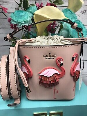 NWT $328 Kate Spade By The Pool Flamingo Pippa leather bucket bag WKRU5957