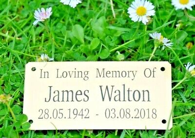 Memorial Bench Plaque Grave Sign Solid Brass 4X2, 5X2, 6X2 Personalised Engraved