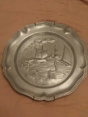 Decorative Nautical Wall Hanging Pewter Plate Ships Boats Vintage Collectible