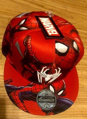 Spider Man Embroidered Flat Brim Hat Red One Size Snapback All over Print