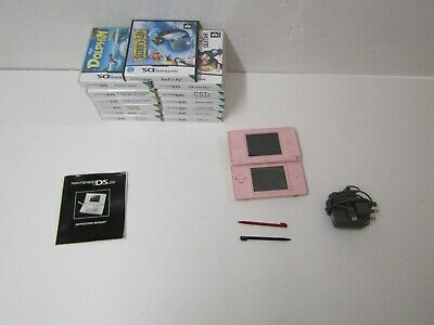 Pink Nintendo DS Lite handheld Console Bundle 13 Games and Charger