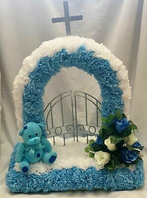 Gates Of Heaven Artificial Silk Funeral Flower Tribute Bear Two Colour Baby Son
