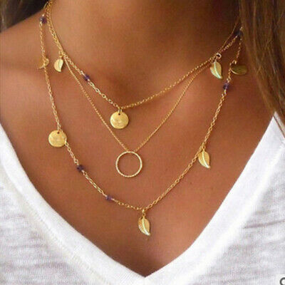 Multilayer Fashion Women Lady Clavicle Choker Necklace Charm Chain Jewelry Decor