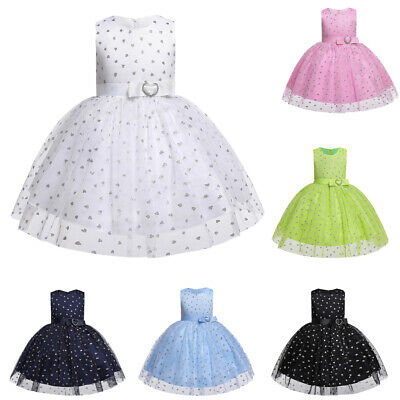 Baby Kids Flower Girl Princess Bridesmaid Birthday Wedding Gown Tulle Tutu Dress