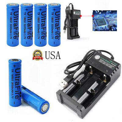 3000mAh   Flat Top 3.7V 18650  Rechargeable Battery  Smart Charger USB 2slot