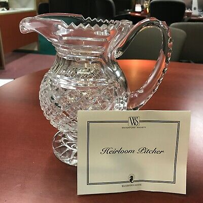 "Waterford Society Crystal Heirloom Pitcher Limited Ed 736/750 Signed COA 8"" Tall"