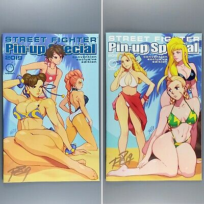 SDCC 2019 Street Fighter PinUp Special Variant A B NM SIGNED Robaato 250 PRINTED