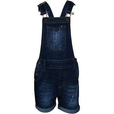 Kids Girls Dungaree Short Dark Blue Denim Ripped Stretch Jeans Overall Jumpsuits