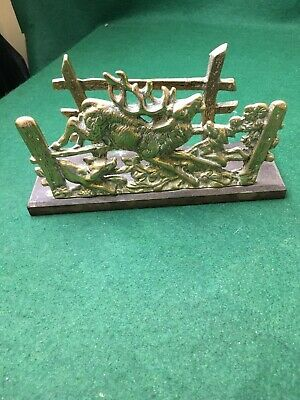 """Vintage Brass & Wood Letter Rack / Holder - Stag And Hounds 8"""" X 4.5"""""""