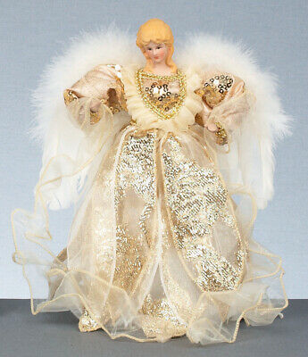Ivory & Gold Angel Fairy Christmas Tree Top Topper Decoration Vintage Style 30cm