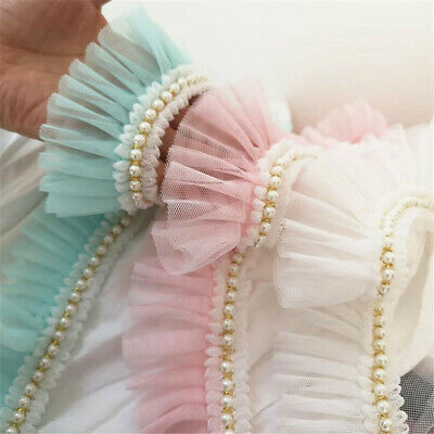 "50cm Pearl Gauze Lace Trims Fold Ruffled DIY Sewing Dress Accessory 2.36""Width"