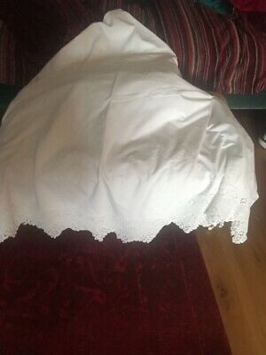 Huge Large Vintage White Cotton Tablecloth With Crochet Edge