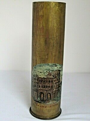 Antique WWI Artillery Shell Trench Art Vase Painting of a Castle Unusual